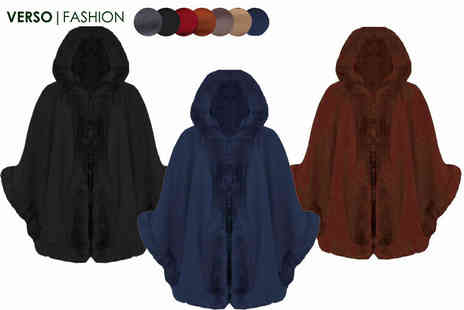 Verso Fashion - Faux fur lined hooded cape choose from seven colours - Save 62%