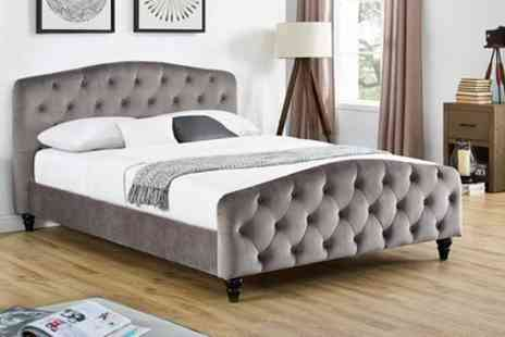 Groupon Goods Global GmbH - Sinartra Chesterfield Grey Fabric Bed Frame with Optional Mattress With Free Delivery - Save 70%