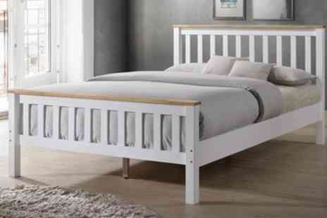 Groupon Goods Global GmbH - Neston White Wooden Bed  with Optional Mattress With Free Delivery - Save 63%