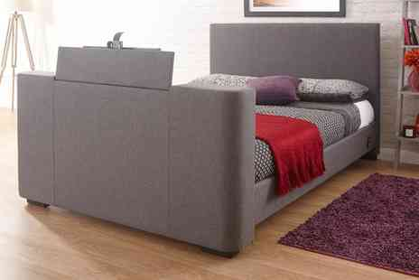 Groupon Goods Global GmbH - Newark Electric Tv Fabric Bed with Optional Mattress With Free Delivery - Save 0%