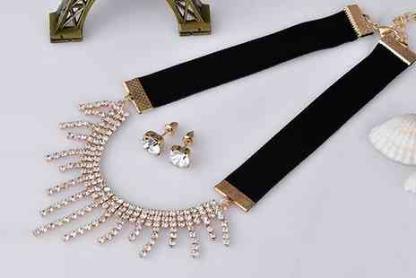 Groupon Goods Global GmbH - One or Two Crystal Droplet Velvet Choker and Earrings Sets - Save 81%