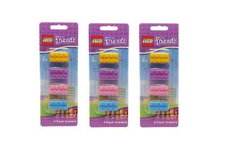 Groupon Goods Global GmbH - 4, 12 or 24 Lego Friends Pencil Erasers - Save 0%