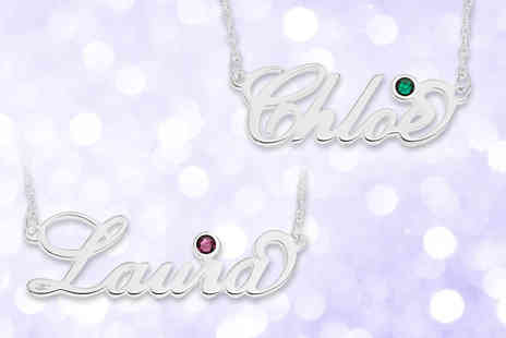 Optima Manufacturing Jewellers - Sterling silver personalised name necklace with crystal birthstone - Save 73%