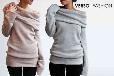 Verso Fashion - Long sleeved off shoulder soft jumper - Save 60%