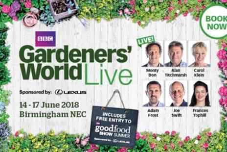 BBC Gardeners World Live - One, two, three or four afternoon tickets to BBC Gardeners World Live on 14 To 17 June 2018 - Save 0%