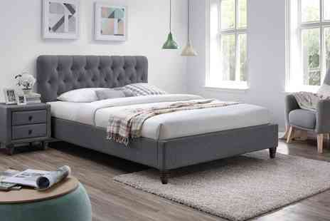 Groupon Goods Global GmbH - Melbourne Chesterfield Grey Fabric Bed Frame with Optional Othopeadic Mattress With Free Delivery - Save 66%