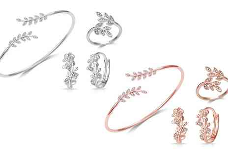 Groupon Goods Global GmbH - Philip Jones Leaf Bangle, Adjustable Ring, Hoop Earrings or Set with Crystals from Swarovski - Save 82%