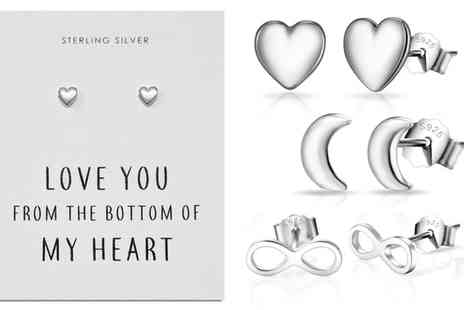 Groupon Goods Global GmbH - One or Three Pairs of Philip Jones Sterling Silver Love Quote Earrings - Save 80%