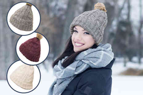 Ckent - Ladies cable knit pom hat in burgundy, cream & grey - Save 67%