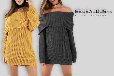 Be Jealous - Knitted off the shoulder jumper dress - Save 52%