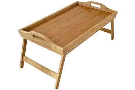 Groupon Goods Global GmbH - Lightweight Wooden Bamboo Serving Tray with Folding Legs - Save 56%