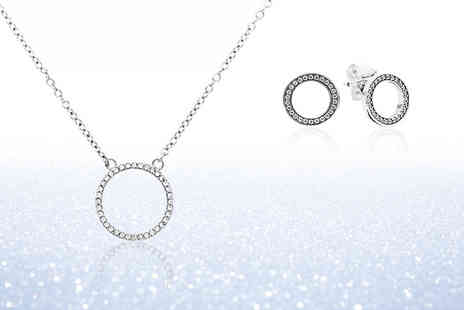 Jewel Unique - Sterling silver pave circle necklace and earrings set - Save 86%
