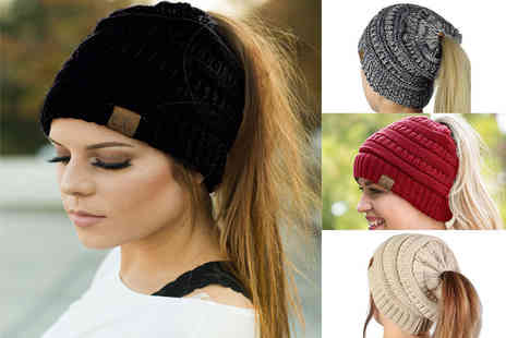 Black Feather - Ponytail beanie hat - Save 78%