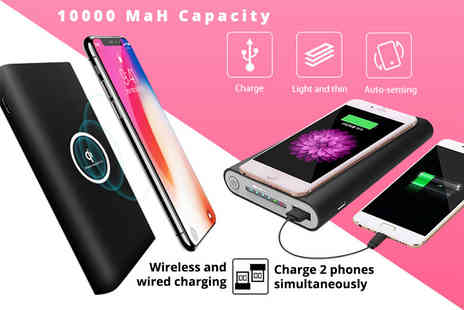 Fine Gadget Shop - Wireless 10,000 mAH power bank choose between black or white - Save 84%