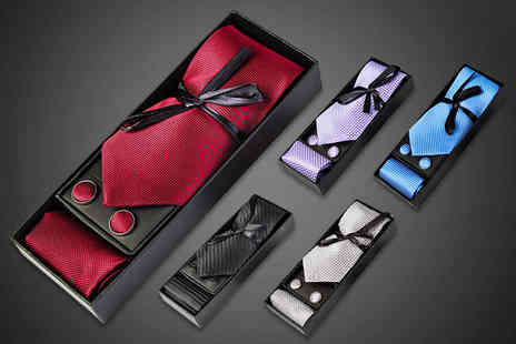 Hua Yuan International Trading - Luxury tie, cuff link and handkerchief set - Save 79%