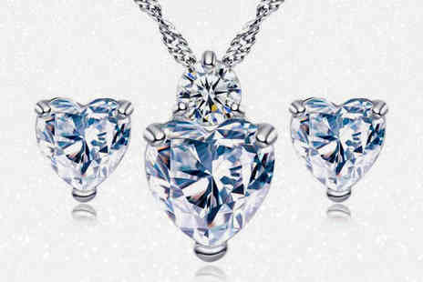 Your Ideal Gift - Crystal and simulated sapphire heart pendant and earring set select from two colours - Save 85%