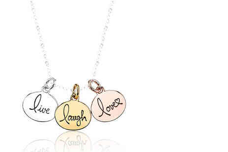 Solo Act - Live, laugh, love tri necklace - Save 79%