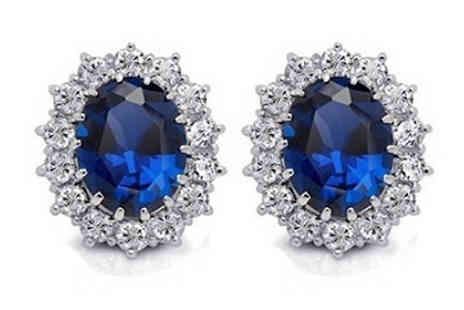 Romatco - Simulated Sapphire and Crystal Earrings - Save 70%