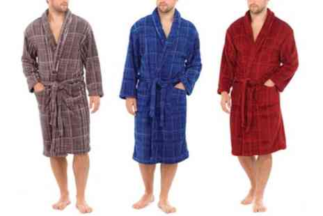 Groupon Goods Global GmbH - Mens Soft Fleece Checked Dressing Gown - Save 66%