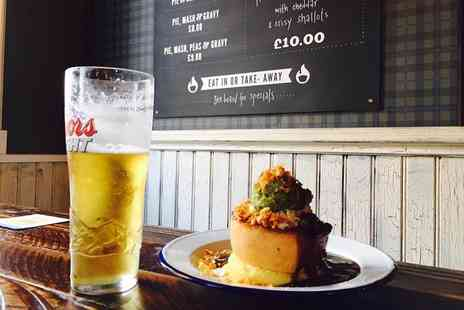 The Black Lion Hotel - Pieminster pie served with mash potato, minted mushy peas, crispy shallots and gravy plus a pint each for two - Save 53%
