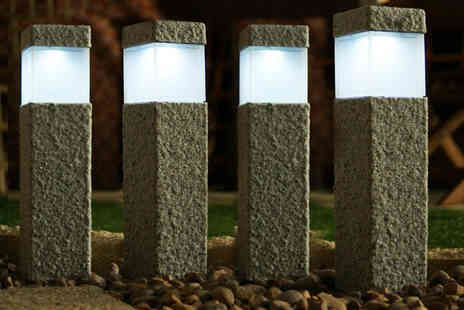 Groundlevel - Set of four contemporary solar post lights - Save 80%