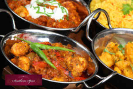 Southern Spice - Two course Indian meal for one inc. glass of wine and side dish for 2 people - Save 59%