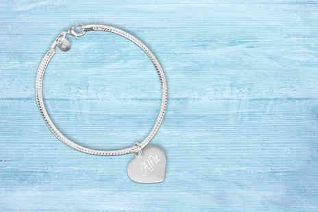 Your Perfect Canvas - Personalised heart bracelet choose from two colours - Save 82%