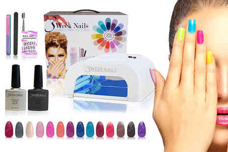 3 Week Nails - 12 piece UV gel nail polish and accessories kit or 15 piece - Save 85%