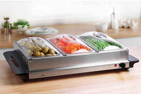 Who Needs Shops - Three pan stainless steel heated buffet server - Save 77%