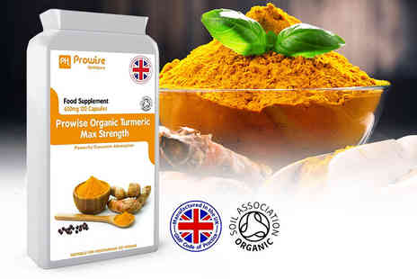 Prowise Healthcare - Four month supply of max strength organic Turmeric capsules - Save 76%