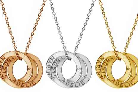 Jewells House - One, Two or Three Engraved Interlocking Ring Necklaces With Free Delivery - Save 73%
