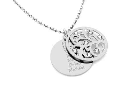 Jewells House - One, Two, or Three Personalised Round Plate Bar Necklaces With Free Delivery - Save 58%