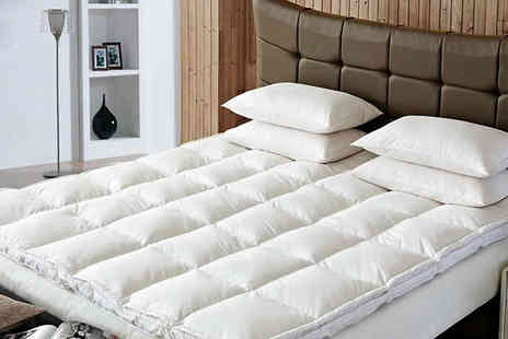 Groundlevel - Extra Thick Duck Feather and Down Mattress Topper Available in 4 Sizes - Save 74%