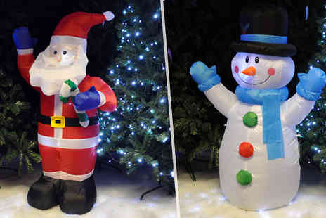Groundlevel - Inflatable Led Christmas Decoration Choose from Santa or Snowman - Save 75%