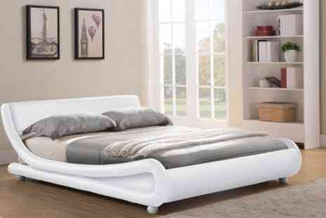 Groupon Goods Global GmbH - Galaxy Faux Leather Bed with Optional Mattress in Choice of Colour With Free Delivery - Save 81%