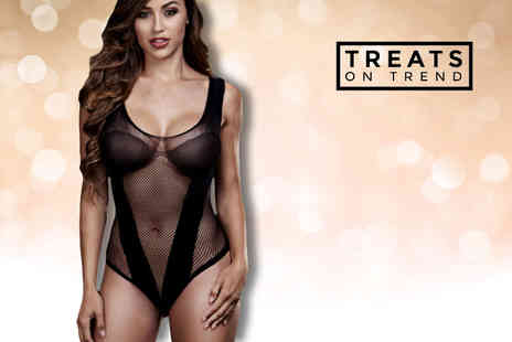 Treats on Trend - Black fishnet teddy - Save 70%