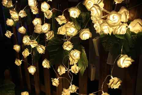 Groupon Goods Global GmbH - One or Two Set of 20 or 30 Warm White LED Battery Operated Rose Bedroom Fairy Lights - Save 72%
