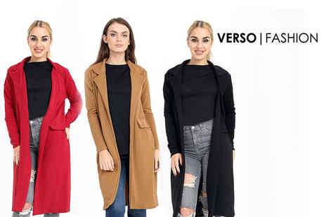 Verso Fashion - Open fronted trench coat choose from three colours - Save 67%
