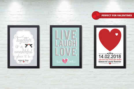 Deco Matters - A4 framed personalised Valentines print or get an A3 size - Save 44%