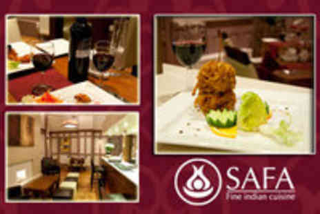 Safa - 2 Course Meal for 2 including Rice Naan Poppadums and a bottle of wine - Save 52%