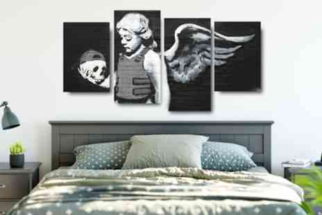 Groupon Goods Global GmbH - Banksy Artwork Four-Panel Canvas in Choice of Design - Save 71%