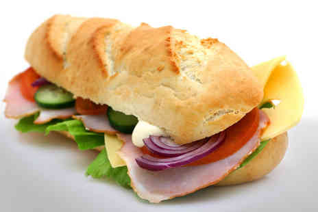 Baguette Express - Choice of delicious lunch items, plus tea or coffee and a slice of cake - Save 64%