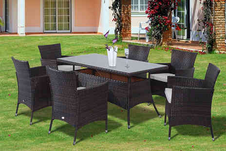 Aosom - Seven piece rattan dining set - Save 55%