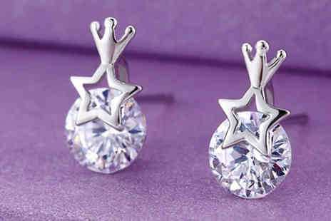Romatco - Crown Stud Earrings With Swarovski Elements - Save 72%