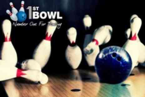 1st Bowl - Two Games of Ten Pin Bowling For Four Plus Hot Dog Each - Save 67%