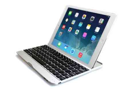 Groupon Goods Global GmbH - Aluminium Bluetooth Keyboard Case for iPad with Optional Earphones or Charge Cable - Save 74%