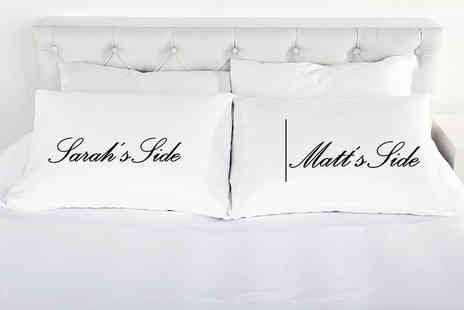 Shop Sharks - Personalised his and hers pillow case set - Save 60%