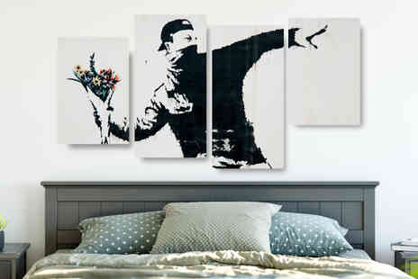 Deco Matters - Four panel banksy canvas - Save 88%