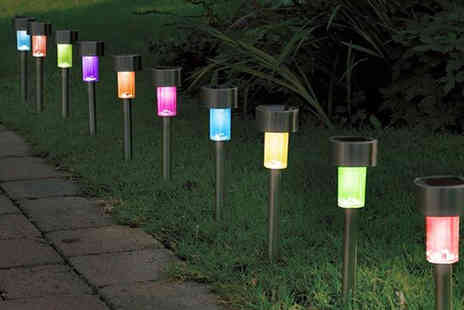 365 Online Shopping - 10 solar powered LED garden stake lights - Save 70%