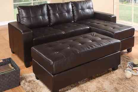 Groupon Goods Global GmbH - Ronny Three Seater Leather Corner Sofa with Ottoman Storage Box With Free Delivery - Save 69%